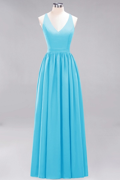 BM0152 Chiffon Lace V-Neck Sleeveless Straps Floor Length Bridesmaid Dress_23
