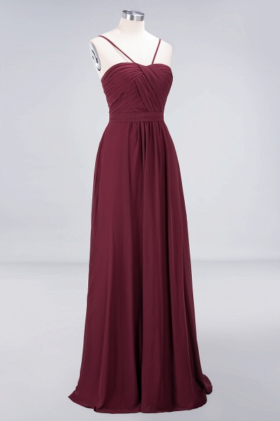 A-Line Chiffon Sweetheart Spaghetti-Straps Backless Floor-Length Bridesmaid Dress with Ruffles_3