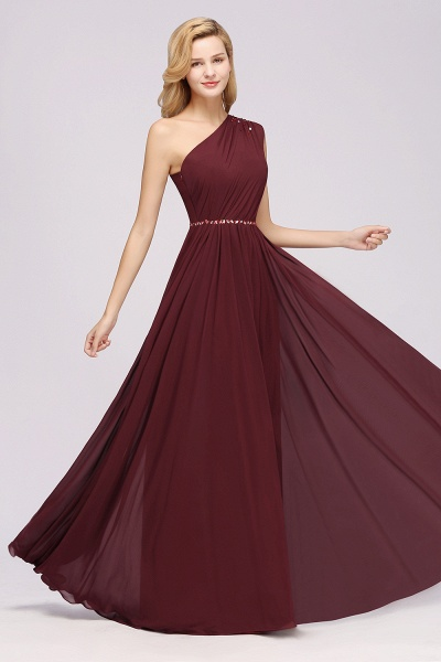 Elegant A-Line Burgundy Chiffon One-Shoulder Sleeveless Ruffles Floor-Length Bridesmaid Dresses with Beadings_37