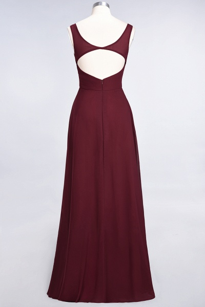 A-Line Chiffon V-Neck Straps Sleeveless Ruffles Floor-Length Bridesmaid Dress with Open Back_36