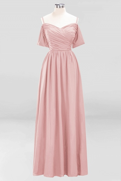 A-Line Chiffon V-Neck Spaghetti Straps Short-Sleeves Floor-Length Bridesmaid Dresses with Ruffles_6