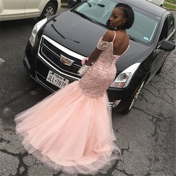 Excellent Spaghetti Straps Tulle Mermaid Prom Dress_4