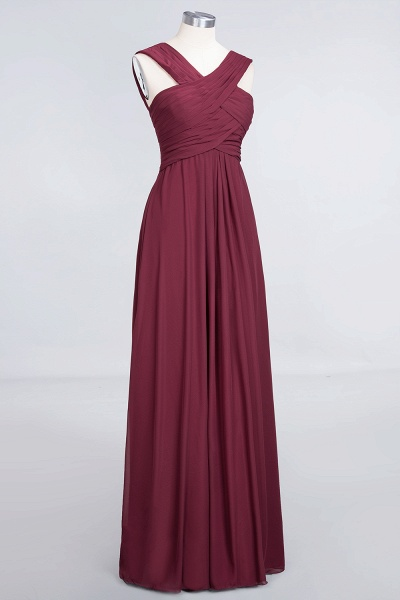 A-Line Chiffon V-Neck Straps Sleeveless Floor-Length Bridesmaid Dress with Ruffles_3