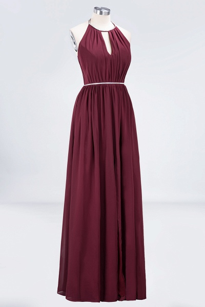 A-line Chiffon Halter Sleeveless Floor-Length Bridesmaid Dress with Beading Sash_3
