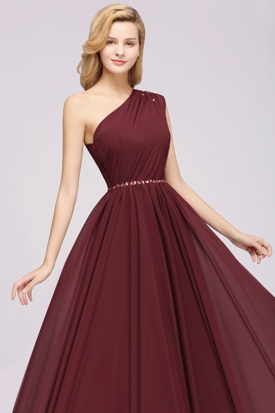 Elegant A-Line Burgundy Chiffon One-Shoulder Sleeveless Ruffles Floor-Length Bridesmaid Dresses with Beadings_38
