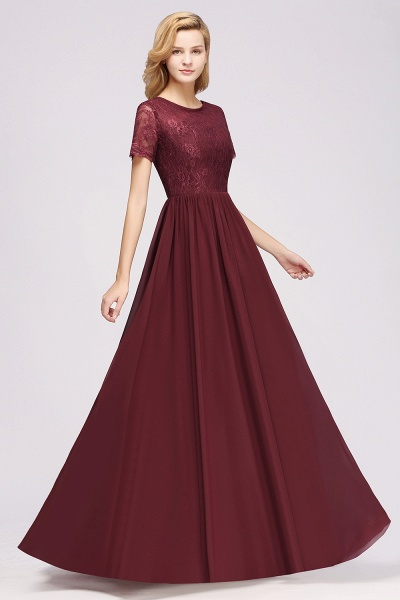 A-line Chiffon Lace Jewel Short-Sleeves Floor-length Bridesmaid Dress_37