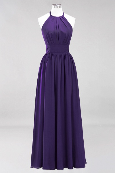 A-line Chiffon Appliques Halter Sleeveless Floor-Length Bridesmaid Dresses with Ruffles_18