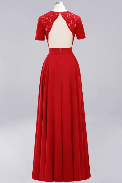 A-Line Chiffon Square Short Sleeves Bridesmaid Dress with Ruffle_4