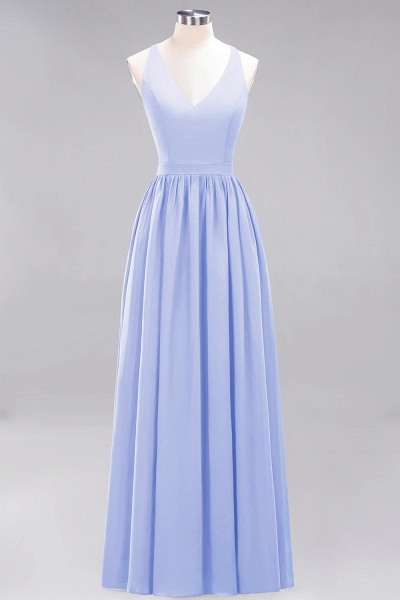 BM0152 Chiffon Lace V-Neck Sleeveless Straps Floor Length Bridesmaid Dress_21