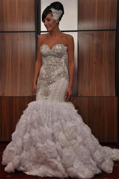Marvelous Strapless Organza Mermaid Prom Dress_1