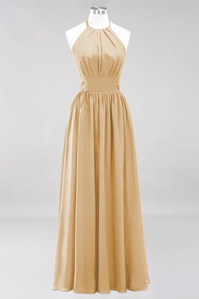A-line Chiffon Appliques Halter Sleeveless Floor-Length Bridesmaid Dresses with Ruffles_13
