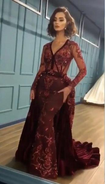 Chic V-neck Appliques A-line Prom Dress_2