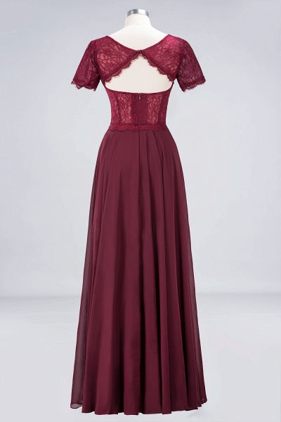 A-Line Chiffon Lace Round-Neck Short-Sleeves Floor-Length Bridesmaid Dress_10