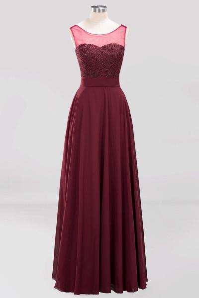 A-Line Chiffon Tulle Lace Beadings Jewel Sleeveless Floor-Length Bridesmaid Dresses with Sash_5
