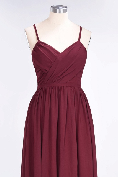A-Line Chiffon Spaghetti-Straps V-Neck Sleeveless Floor-Length Bridesmaid Dress with Ruffles_4