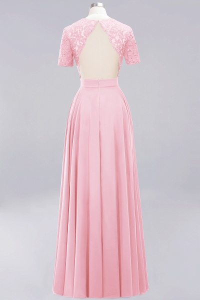 A-Line Chiffon Square Short Sleeves Bridesmaid Dress with Ruffle_3