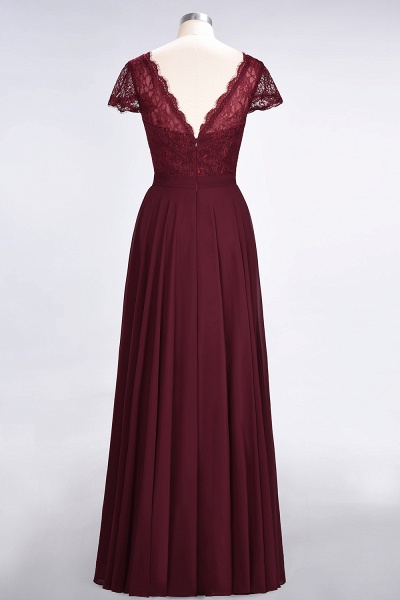 A-Line Chiffon Lace V-Neck Cap-Sleeves Floor-Length Bridesmaid Dress_10