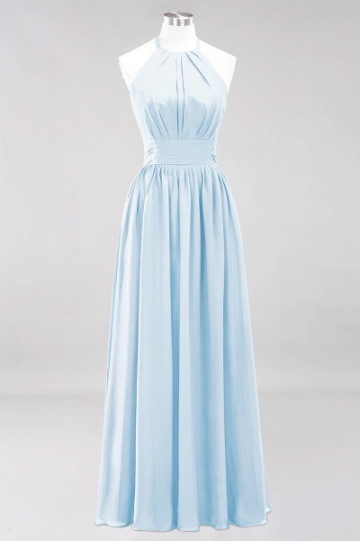 A-line Chiffon Appliques Halter Sleeveless Floor-Length Bridesmaid Dresses with Ruffles_22