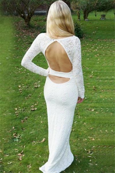Modest Jewel Lace Column Prom Dress_2
