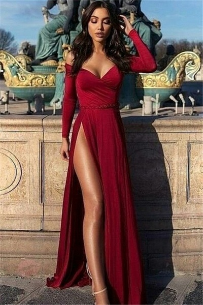 Chic Off-the-shoulder Chiffon A-line Prom Dress_1