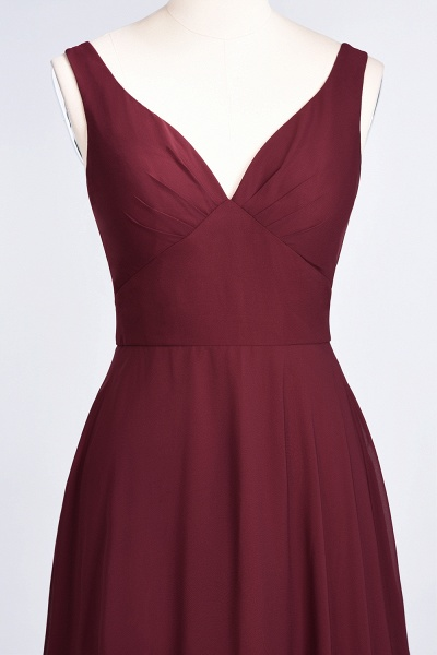 A-Line Chiffon V-Neck Straps Sleeveless Ruffles Floor-Length Bridesmaid Dress with Open Back_38