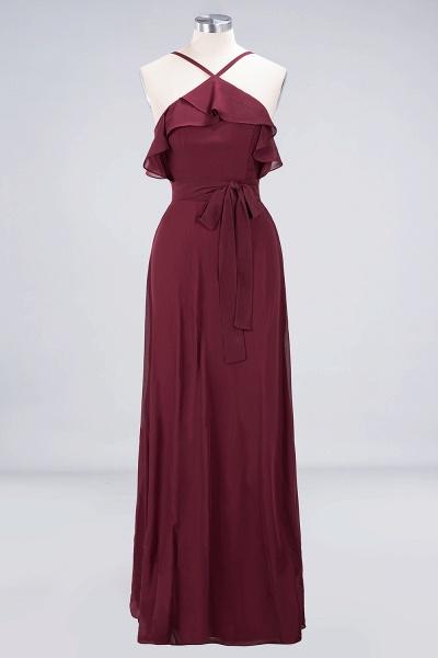 A-line Chiffon Spaghetti-Straps Sleeveless Ruffles Floor-Length Bridesmaid Dress with Bow Sash_8