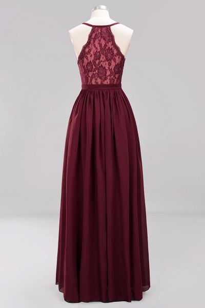 BM0152 Chiffon Lace V-Neck Sleeveless Straps Floor Length Bridesmaid Dress_43