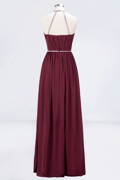 A-line Chiffon Halter Sleeveless Floor-Length Bridesmaid Dress with Beading Sash_2