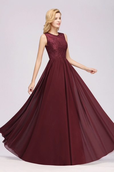A-line Chiffon Lace Jewel Sleeveless Ruffles Floor-Length Bridesmaid Dresses with Appliques_4