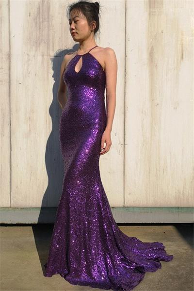 Graceful Halter Sequined Mermaid Prom Dress_3