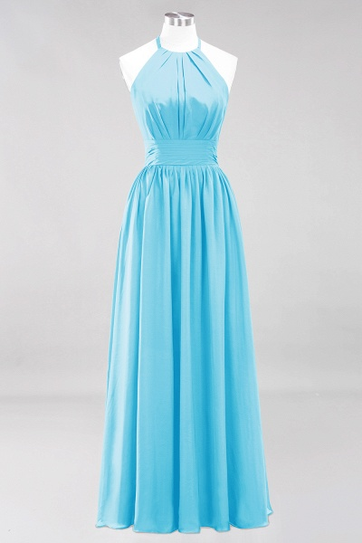 A-line Chiffon Appliques Halter Sleeveless Floor-Length Bridesmaid Dresses with Ruffles_23