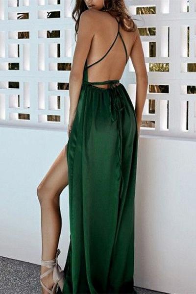 Modest Halter Satin A-line Prom Dress_2
