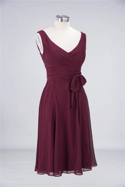 A-Line Chiffon Straps V-Neck Sleeveless Ruffles Knee-Length Bridesmaid Dress with Bow Sash_2