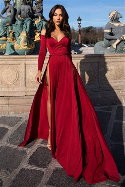 Chic Off-the-shoulder Chiffon A-line Prom Dress_3