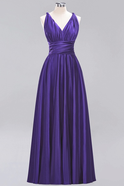 BM0143 Simple A-Line V-Neck Sleeveless Ruffles Floor Length Bridesmaid Dress_18
