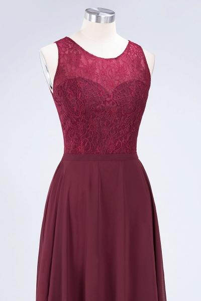 A-Line Chiffon Lace Jewel Sleeveless Hollowout Floor-Length Bridesmaid Dress_5