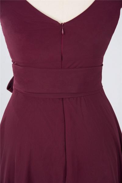 A-Line Chiffon Straps V-Neck Sleeveless Ruffles Knee-Length Bridesmaid Dress with Bow Sash_4