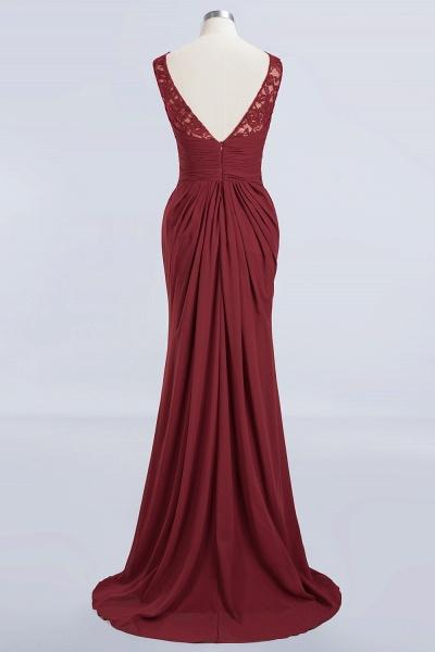 BM0058 Burgundy Chiffon Lace Scoop A-Line Ruffles Long Bridesmaid Dresses_8