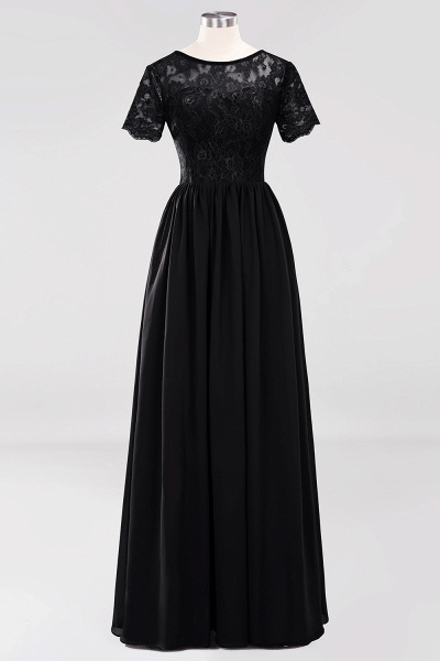 A-line Chiffon Lace Jewel Short-Sleeves Floor-length Bridesmaid Dress_28