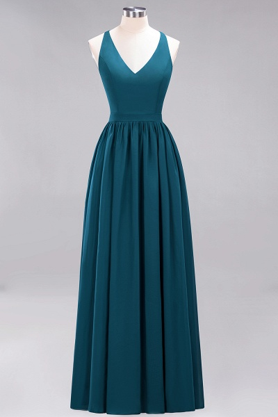 BM0152 Chiffon Lace V-Neck Sleeveless Straps Floor Length Bridesmaid Dress_26