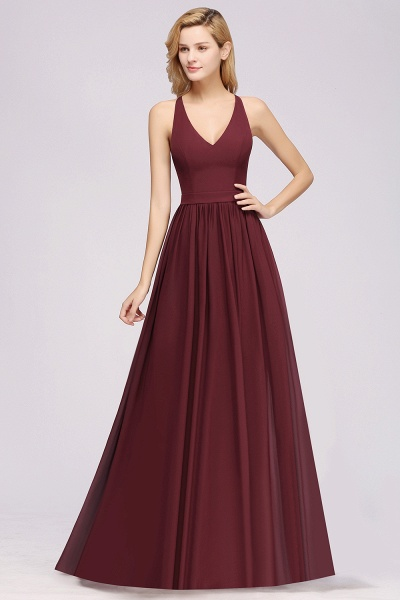 BM0152 Chiffon Lace V-Neck Sleeveless Straps Floor Length Bridesmaid Dress_39