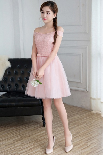 Modest Off-the-shoulder Tulle A-line Homecoming Dress_4