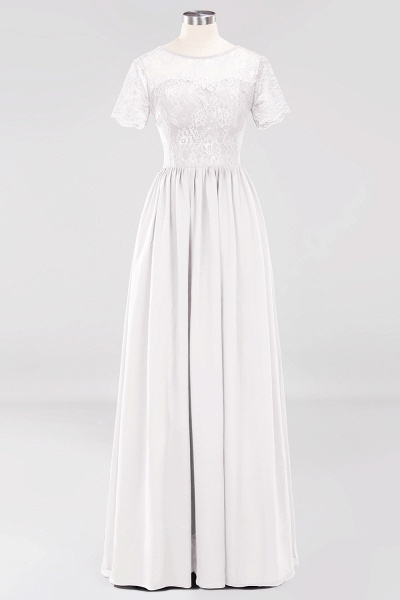 A-line Chiffon Lace Jewel Short-Sleeves Floor-length Bridesmaid Dress_1