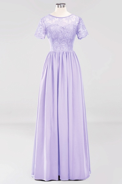 A-line Chiffon Lace Jewel Short-Sleeves Floor-length Bridesmaid Dress_20