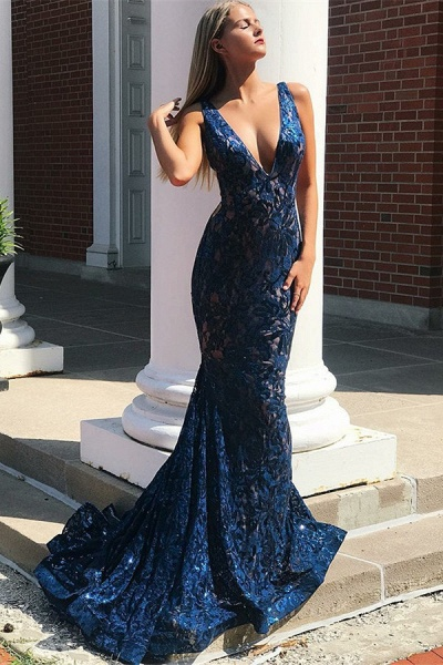 Affordable Straps Lace Mermaid Prom Dress_1