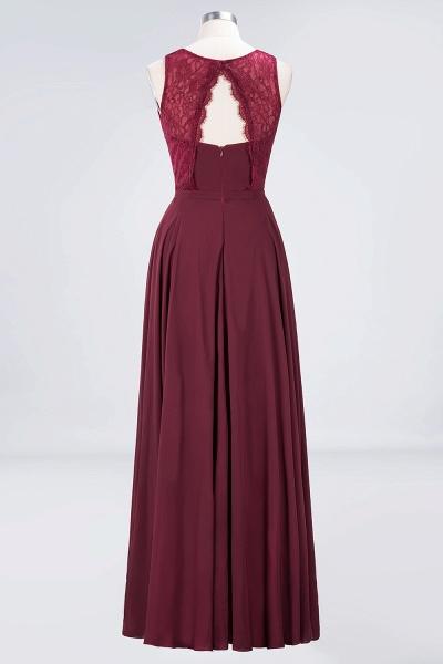 A-Line Chiffon Lace Jewel Sleeveless Hollowout Floor-Length Bridesmaid Dress_2