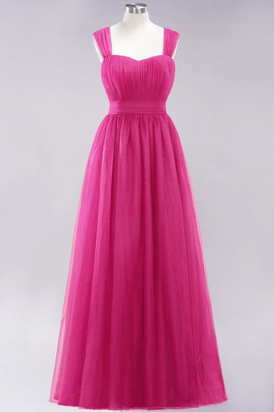 A-Line Chiffon Sweetheart Straps Sleeves Floor-Length Bridesmaid Dresses with Ruffles_9