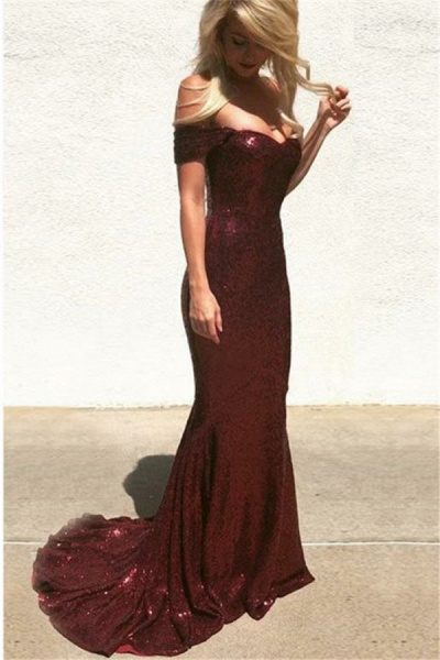 Graceful Off-the-shoulder Sequined Mermaid Prom Dress_2
