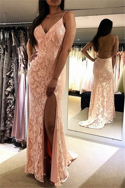 Exquisite V-neck Lace Mermaid Prom Dress_1