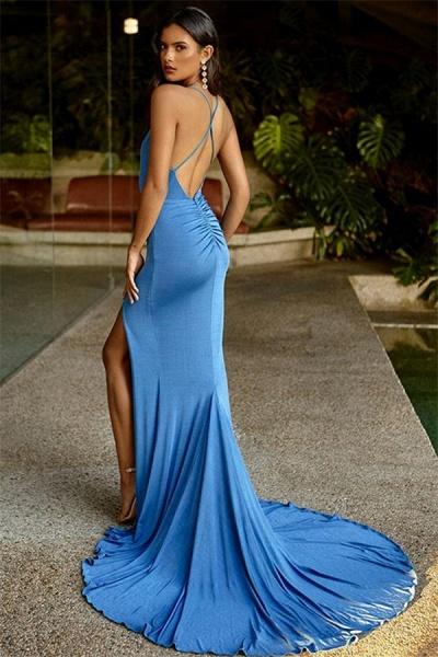 Fascinating Spaghetti Straps Spandex Column Prom Dress_2